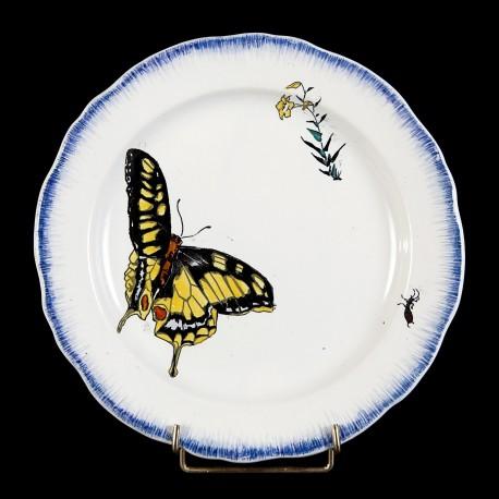 Bracquemond Papillon & Campanule jaune assiette D 24,5 cm