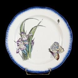 Bracquemond Iris violet & Papillon assiette D 25 cm