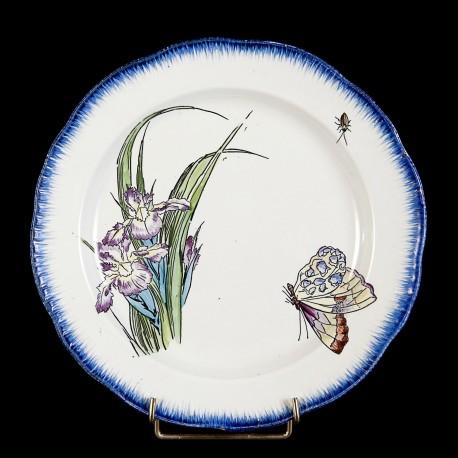 Bracquemond Purple Iris & Butterfly plate D 25 cm