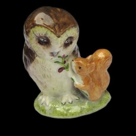 """Beatrix Potter Hibou et écureuil """"Old Mr Brown"""" 8,5 cm"""