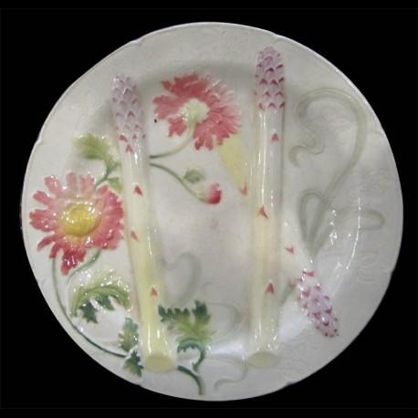 Assiette en barbotine fleurs