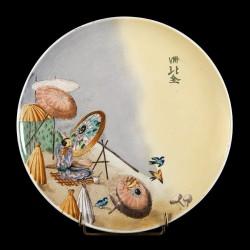 Scène Japonaise homme et ombrelles D 23 cm