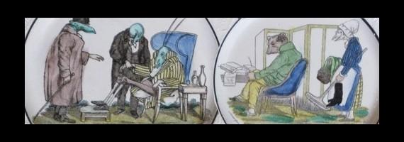 Старинные тарелки с иллюстрациями